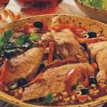 Жареная курица с салями и помидорами